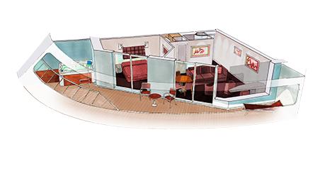 Kajuta Suite s uhlovým balkonem s RIVIERA TOUR - rozložení kajuty