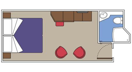 MSC Yacht Club Interior s RIVIERA TOUR - rozložení kajuty