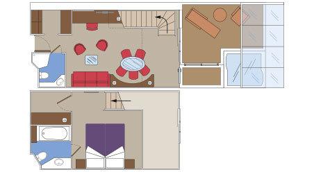 Kajuta Duplex Suite s RIVIERA TOUR - rozložení kajuty