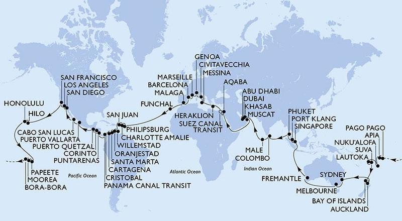 Plavba kolem světa MSC MAGNIFICA s RIVIERA TOUR