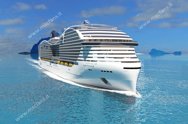 """Příď lodi MSC World s futuristickým tvarem písmene """"Y""""; zdroj: mscfans.it"""